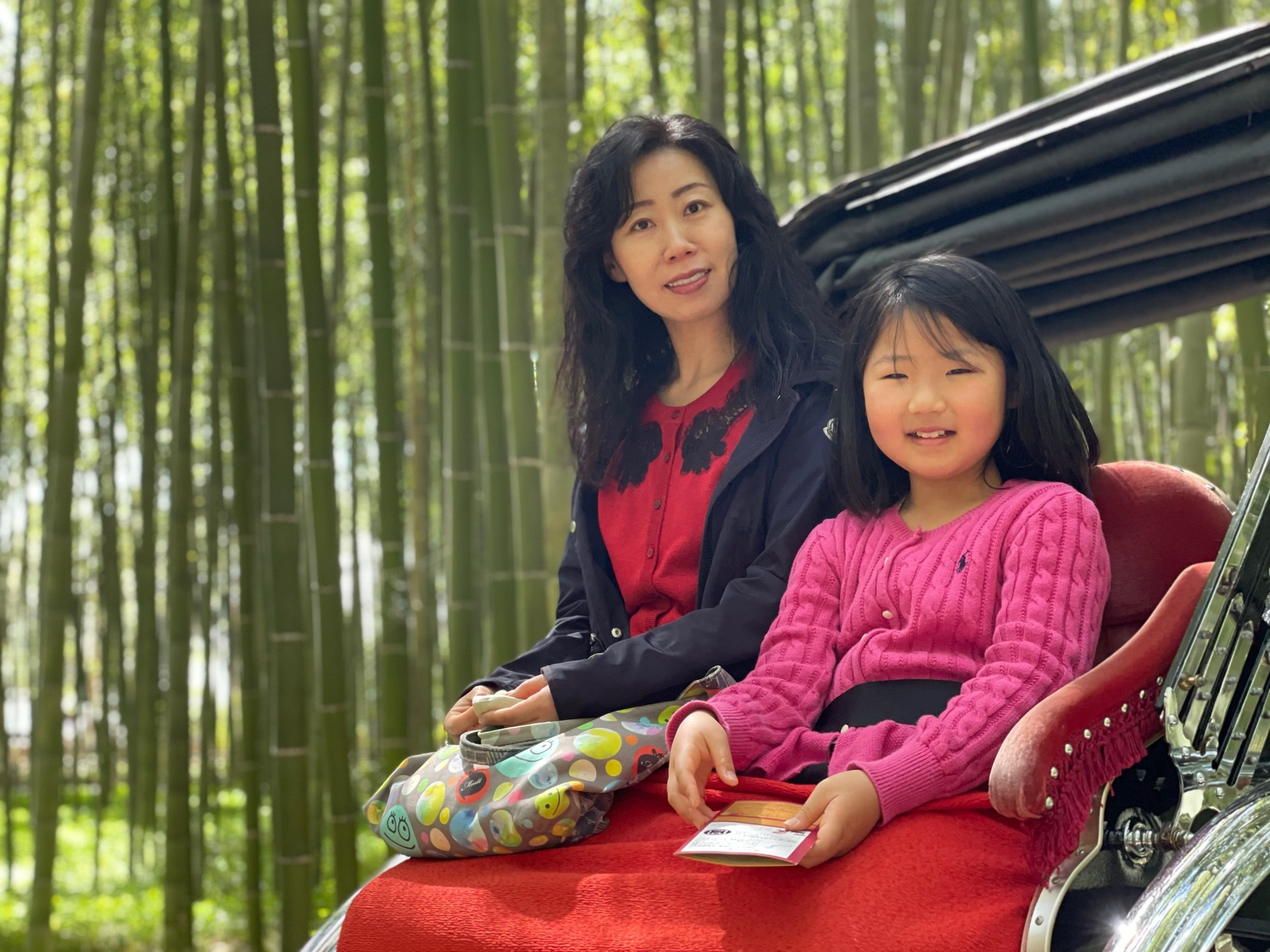 京都の嵐山-竹林で